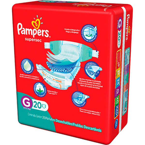 Fralda pampers supersec econ ged c20