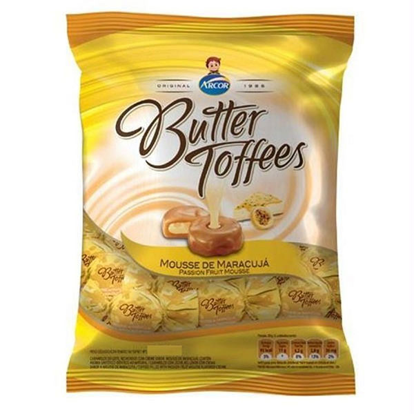 Bala arcor butter toffe maracuja 160g